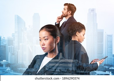 Group of three business colleagues in suits dreaming about new career opportunities after MBA graduation. Concept of multinational corporate team. Singapore on background. Double exposure.
