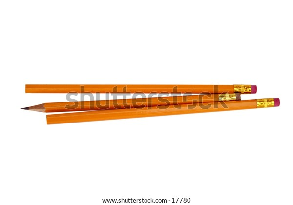 A group of three pencils with one sharpened isolated on white with clipping path.