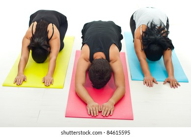 Group Three People Doing Yoga Exercise Stock Photo Edit Now 84615595