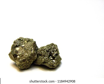 Group of three pieces of metallic yellow, golden isometric FeS2 Common Pyrite... also known as Fools Gold or Fake Gold
