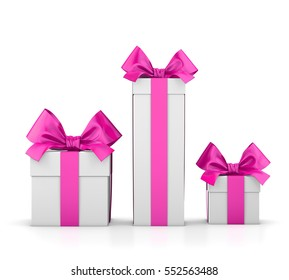 group three pink gift boxes valentine day white background 3d rendering