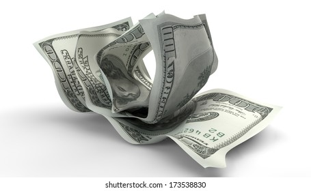 A group of three scrunched up creased us dollar banknotes on an isolated white background