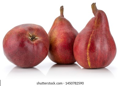 Group of three whole fresh dark red pear anjou with a streak isolated on white background