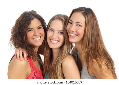 Group of three women laughing and looking at camera isolated on a white background