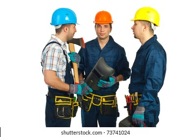 Group of three constructor workers having conversation isolated on white background