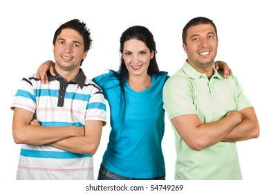 Group of three young friends smiling and wearing blank t-shirts standing in a row ,the woman in center holding her hands on their shoulders and the guys standing with hands crossed