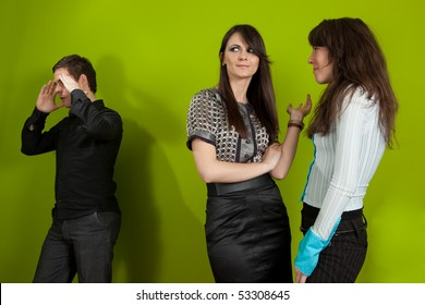 Group of three young people in the office