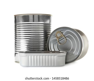 Group of tin cans isolated on white