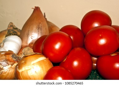 Group of tomatoes and onions