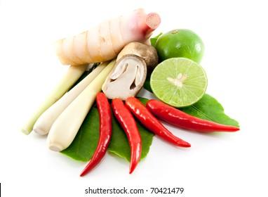 group of Tomyum(Thai food) seasoning ingredients