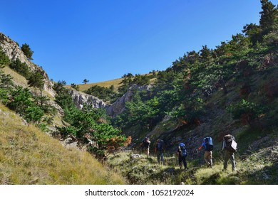 A group of tourists with backpacks walking along the mountainside, a back view
