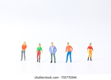 group of Toy, miniature figures of human with Different occupation on white background.