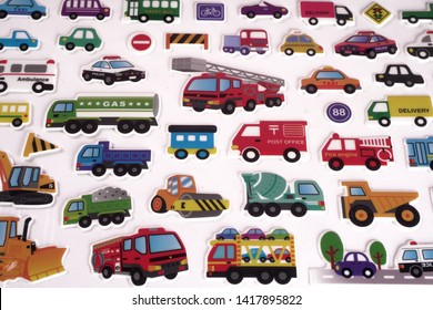 Group of transport icons set of stickers, colorful motors vehicles in a variety of colors shapes and sizes.