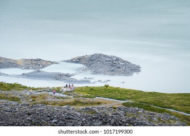 A Group of travler looking to a Beautiful scene of Glacier in  Mt Cook National park (Muller's hut track)