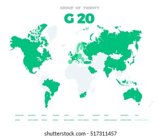 Group of Twenty countries on world map template. G20 infographic design illustration