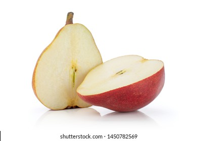 Group of two halves of fresh dark red pear anjou isolated on white background