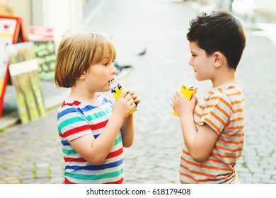 Group of two little boys drinking juice on a hot summer day