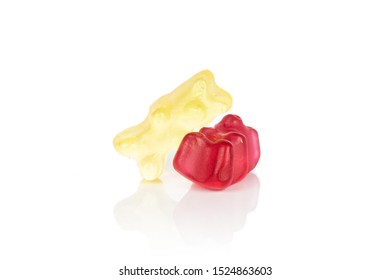 Group of two whole gummy bear isolated on white background