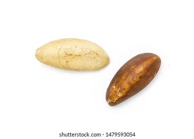 Group of two whole unshelled brazil nut flatlay isolated on white background