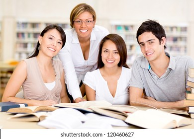 Group of university students at the library