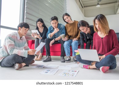 Group Of University Students Youth Adult Reading book Education and brainstorming talk comment about home work  at apartment .Knowledge Concept