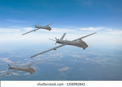 The group of unmanned aerial vehicles in the sky over the territory of patrol