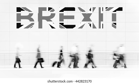 Group of unrecognizable business people leaving Great Britain, Brexit,  monochrome photo