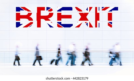 Group of unrecognizable business people leaving Great Britain, Brexit