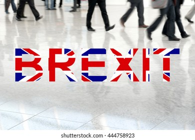 Group of unrecognizable business people leaving London, Brexit