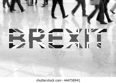 Group of unrecognizable business people leaving London, Brexit,  monochrome photo