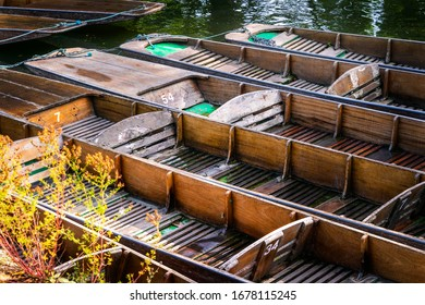 A group of unused punting boats alongside the riverbank in Oxford, UK