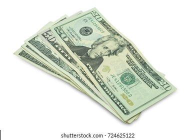 Group of US money isolated on white background with clipping path.