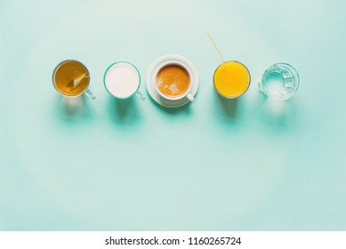 Group Useful Colorful Beverages Drink Coffee Milk Tea Orange Juice Water Flat Lay Still Life Table Top View Blue Background
