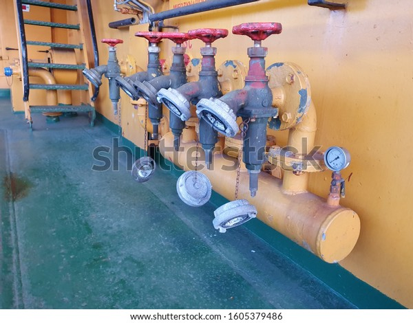 Group of valves on ship