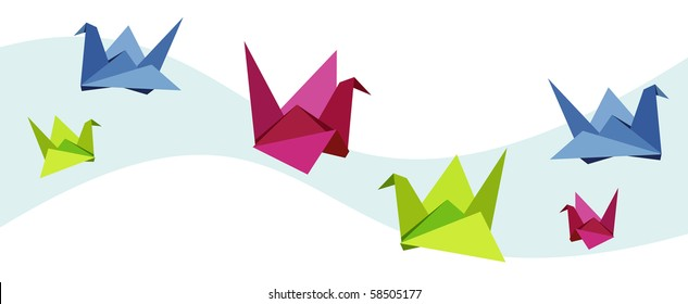 Group of various Origami vibrant colors swan.