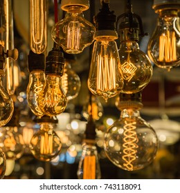 Group of Vintage Electric Light Bulbs with Incandescent Filament