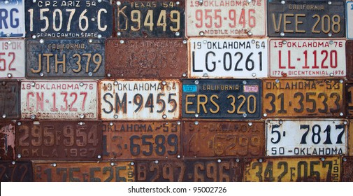 Group of vintage old American license plates