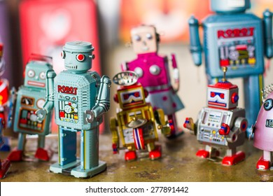 Group of vintage robots