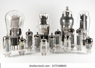 A group of vintage vacuum tubes dating back to the fifties.