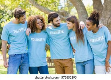 Group of volunteer group having fun in park