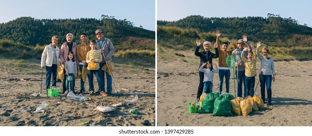 Group of volunteers posing before and after cleaning the beach