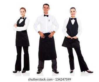group of waiter and waitress full length portrait on white