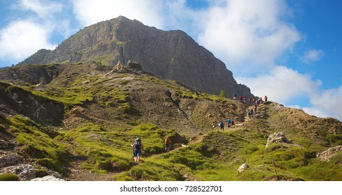 Group of walking tourists in the mountains