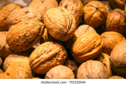 Group of Walnuts close up. Healthy organic food concept