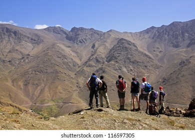 Group is watching over the Amazing mountains of Morocco