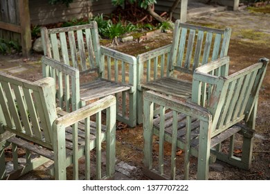 Group of weather wooden patio chairs in a backyard sitting area & Backyard Chairs Stock Photos Images u0026 Photography   Shutterstock
