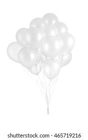 A group of white balloons isolated on white background.
