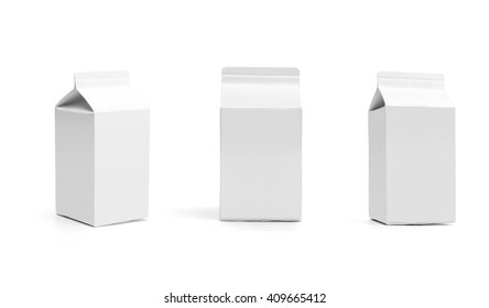 Group of white blank milk boxes with original shadow. Retail package mockup set. Half liter containers isolated on white