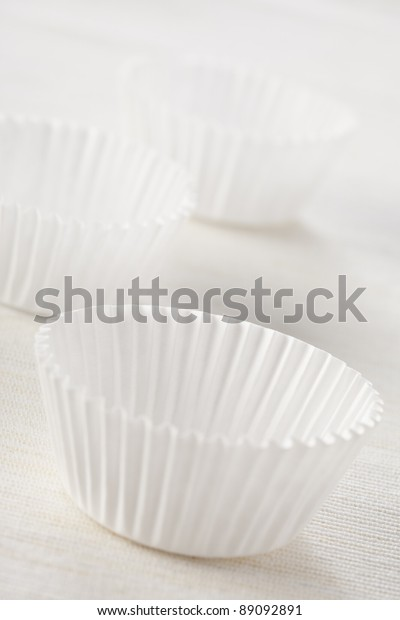 Group White Clean Cupcake Liners Natural Stock Image