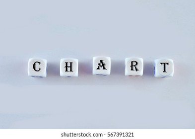 Group of White dice over white background with word written CHART